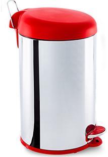 Lixeira Inox Decorline Tampa Vermelha 3048-213 Brinox
