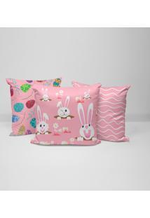 Kit 3 Capas Para Almofadas Happy Easter Cute Pink 35X35Cm.