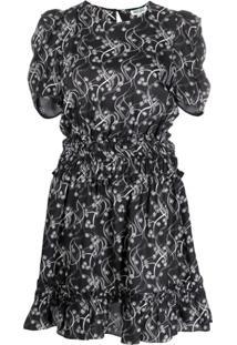 Kenzo Vestido Floral Com Franzido - Preto