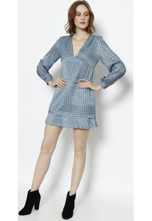 89810e783 Privalia. Vestido Amanda Poás Com Botões - Azul Claro   Preto Le Lis Blanc