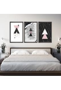 Quadro 60X120Cm Abstrato Escandinavo Coloridos Geométrico Triangulos Moldura Preta Sem Vidro - Mod: Oh5711