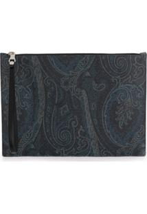 Etro Paisley Printed Clutch - Azul