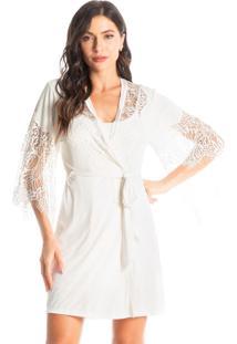 Robe Feminino Curto Com Renda Isadora