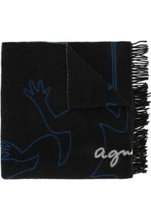 Agnès B. Echarpe Com Logo - Azul