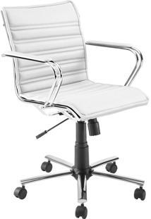 Cadeira Office Diretor Giratória Com Pistão A Gás Havenna Movelfar - Pvc Marfim Seda - Multistock