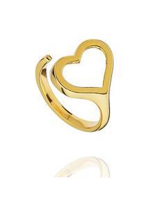 Anel Aberto Coração Regulável Liso Dourado