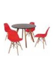 Mesa Inês 100Cm Preta + 4 Cadeiras Eames Eiffel - Vermelha