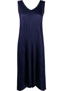 Issey Miyake Vestido Midi Com Pregas - Azul