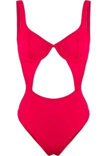 Sian Swimwear Maiô Com Recorte Vazado - Vermelho
