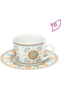 Jogo De Xícaras De Chá Hype Style- Branco & Marrom Clarobon Gourmet