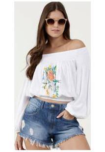 Blusa Feminina Cropped Ombro A Ombro Flores Marisa