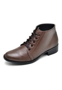 Bota Couro Dr Shoes Pespontos Café