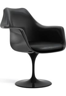 Cadeira Saarinen Tulipa Preta Com Braços E Almofada Preta