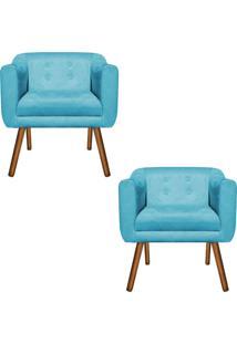 Kit 02 Poltrona Decorativa Julia Suede Azul Turquesa - D'Rossi. - Azul - Dafiti
