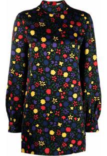 Saint Laurent Floral Pattern Mini Dress - Preto