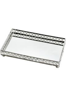 Bandeja Retangular De Ferro Fundido Com Espelho E Coberta De Cristais 23X12,75X5 Cm - Unissex