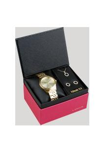 Kit De Relógio Analógico Lince Feminino + Brinco + Colar - Lrg4428L Kd23C1Kx Dourado