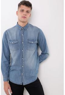 Camisa Com Bolso Em Jeans