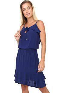 Vestido Queens Paris Curto Babado Azul-Marinho