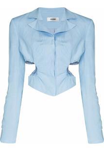 Danielle Guizio Blazer Cropped Com Recorte Vazado - Azul