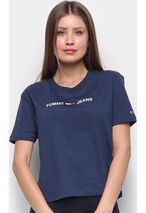 Camiseta Tommy Jeans Modern Linear Logo Tee Feminina - Feminino-Azul+Marinho