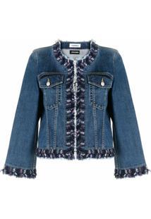 Coohem Jaqueta Jeans Com Acabamento De Tweed - Azul