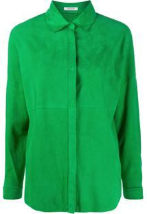 P.A.R.O.S.H. Suede Panel Shirt Jacket - Verde