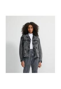 Jaqueta Em Jeans Com Bolsos E Barra Desfiada
