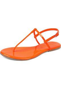 Sandália Rasteirinha Mercedita Shoes Verniz Neon Laranja Ultra Macia