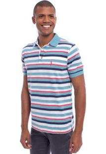 Camisa Polo Aleatory Listrada Magic Masculina - Masculino-Azul