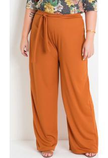 Calça Pantalona Caramelo Com Amarração Plus Size
