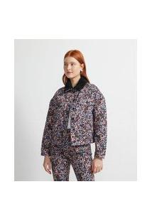 Jaqueta Em Sarja Estampa Floral Com Gola De Pelos E Bolsos De Lapela   Blue Steel   Preto   M