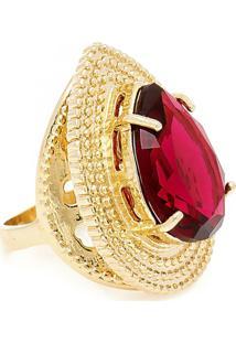 Anel Banho De Ouro Gota Com Cristal - Feminino-Vermelho