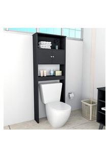 Armário Para Banheiro Com 2 Portas E 3 Prateleiras Slim Preto Lilies Móveis