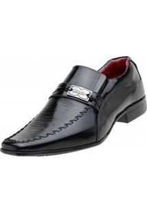 Sapato Social Venetto Verniz - Masculino-Preto