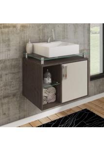 Gabinete De Banheiro 1 Cuba Sobreposta Em Base De Vidro Porto Mgm Móveis Café/Off White