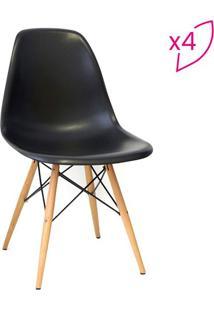 Jogo De Cadeiras Eames Dkr- Tiffany & Madeira- 4Pã§S