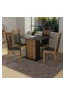 Conjunto Sala De Jantar Madesa Sheila Mesa Tampo De Madeira Com 4 Cadeiras - Rustic/Preto