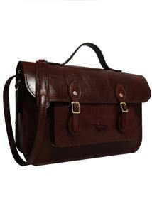 Bolsa Line Store Leather Satchel Média Couro Marrom Avermelhado