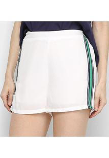 Shorts Eagle Rock Curto Listras Laterais Cintura Média Feminino - Feminino-Off White