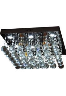 Lustre De Cristal Diamante 6816/400 Quadrado 184W Bivolt Prata