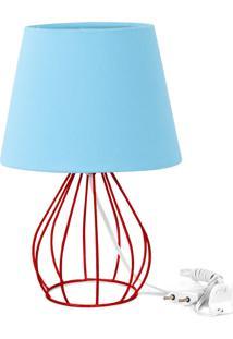 Abajur Cebola Dome Azul Bebe Com Aramado Vermelho - Azul - Dafiti