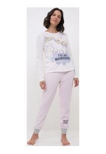 Pijama Manga Longa Com Estampa Unicórnio E Listras