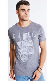 Camiseta Estampa Caveira Chaos