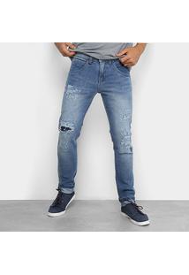 Calça Jeans Skinny Zune Rasgados E Puídos Masculina - Masculino