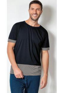 Camiseta Preta Com Recortes E Manga Curta