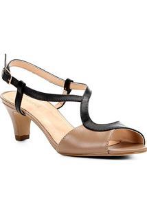 Sandália Couro Shoestock Salto Grosso Bicolor Feminina - Feminino-Preto+Nude