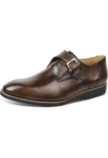 Sapato Social Linha Premium Monk Strap Sandro Moscoloni 16101 Marrom Escuro