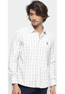 Camisa Aleatory Slim Fit Quadriculada Manga Longa Masculina - Masculino-Branco+Cinza