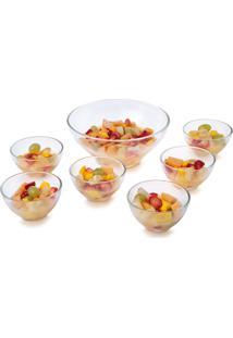 Jogo De Sobremesa R3P Import Conjunto 7 Peças Vidro Transparente Tigelas Gourmet Fruta Sorvete Casa Linda